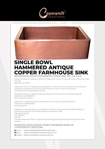 Coppersmith Creations 33 Inch Farmhouse Front Apron Copper Kitchen Sink Single Bowl Hand Hammered Antique Finish Best Quality Best Price 0 4