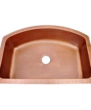 Coppersmith Creations 33 X 22 X 9 Inch D Shape Copper Farmhouse Sink Antique Hammered In 16 Gauge Best Quality Best Price Discounted Price For Limited Time 0 300x360