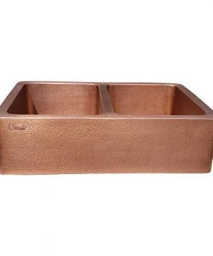 Coppersmith Creations 33 X 22 X 9 Inch Farmhouse Front Apron Copper Kitchen Sink Double Bowl Hand Hammered Antique Finish In 16 Gauge Best Quality Best Price Discounted Price For Limited Time 0 0 300x360