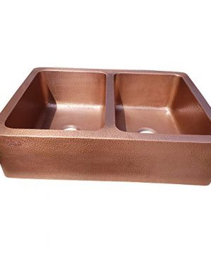 Coppersmith Creations 33 X 22 X 9 Inch Farmhouse Front Apron Copper Kitchen Sink Double Bowl Hand Hammered Antique Finish In 16 Gauge Best Quality Best Price Discounted Price For Limited Time 0 1 300x360