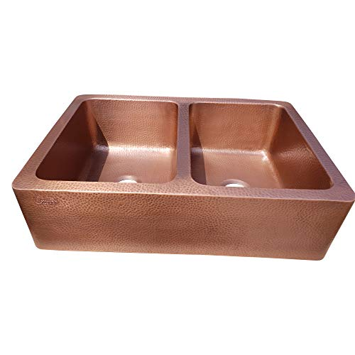 Coppersmith Creations 33 X 22 X 9 Inch Farmhouse Front Apron Copper Kitchen Sink Double Bowl Hand Hammered Antique Finish In 16 Gauge Best Quality Best Price Discounted Price For Limited Time 0 1