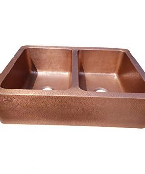 Coppersmith Creations 33 X 22 X 9 Inch Farmhouse Front Apron Copper Kitchen Sink Double Bowl Hand Hammered Antique Finish In 16 Gauge Best Quality Best Price Discounted Price For Limited Time 0 2 300x360