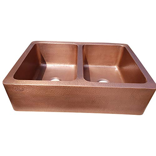 Coppersmith Creations 33 X 22 X 9 Inch Farmhouse Front Apron Copper Kitchen Sink Double Bowl Hand Hammered Antique Finish In 16 Gauge Best Quality Best Price Discounted Price For Limited Time 0 2