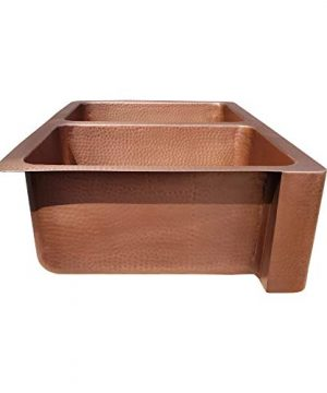 Coppersmith Creations 33 X 22 X 9 Inch Farmhouse Front Apron Copper Kitchen Sink Double Bowl Hand Hammered Antique Finish In 16 Gauge Best Quality Best Price Discounted Price For Limited Time 0 3 300x360
