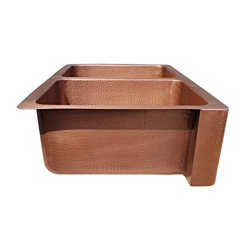 Coppersmith Creations 33 X 22 X 9 Inch Farmhouse Front Apron Copper Kitchen Sink Double Bowl Hand Hammered Antique Finish In 16 Gauge Best Quality Best Price Discounted Price For Limited Time 0 3