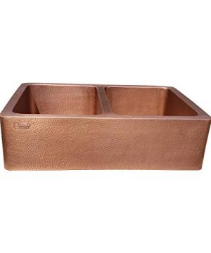 Coppersmith Creations 33 X 22 X 9 Inch Farmhouse Front Apron Copper Kitchen Sink Double Bowl Hand Hammered Antique Finish In 16 Gauge Best Quality Best Price Discounted Price For Limited Time 0 300x360