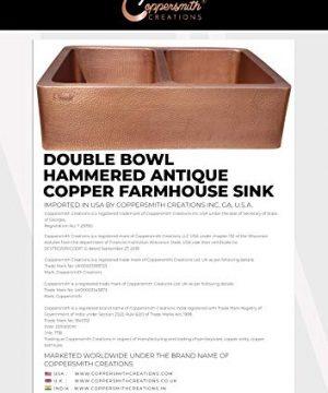 Coppersmith Creations 33 X 22 X 9 Inch Farmhouse Front Apron Copper Kitchen Sink Double Bowl Hand Hammered Antique Finish In 16 Gauge Best Quality Best Price Discounted Price For Limited Time 0 4 300x360