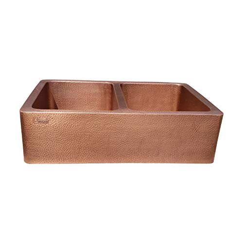 Coppersmith Creations 33 X 22 X 9 Inch Farmhouse Front Apron Copper Kitchen Sink Double Bowl Hand Hammered Antique Finish In 16 Gauge Best Quality Best Price Discounted Price For Limited Time 0