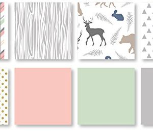 Coral Mint And Grey Woodsy Deer Girls Baby Bedding 4 Piece Crib Set Without Bumper 0 1 300x258