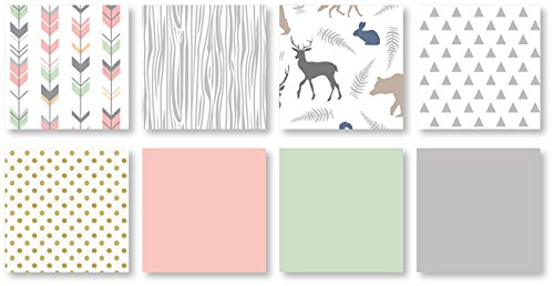 Coral Mint And Grey Woodsy Deer Girls Baby Bedding 4 Piece Crib Set Without Bumper 0 1