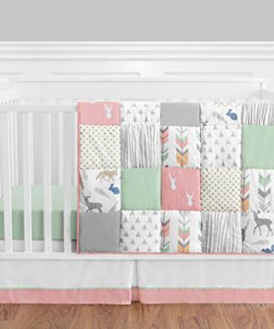Coral Mint And Grey Woodsy Deer Girls Baby Bedding 4 Piece Crib Set Without Bumper 0 300x360