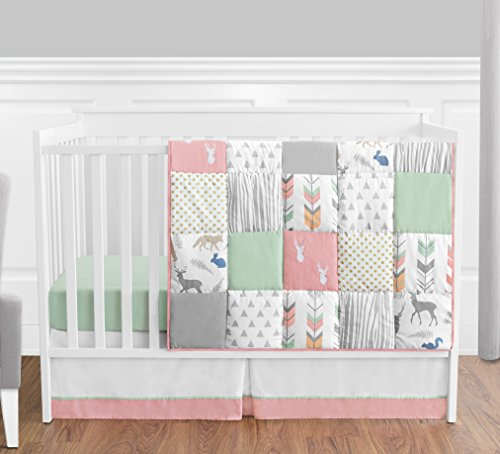 Coral Mint And Grey Woodsy Deer Girls Baby Bedding 4 Piece Crib Set Without Bumper 0