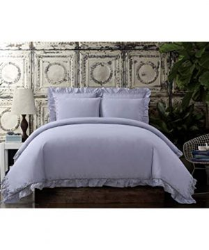 Cottage Classics Washed Cotton Voile Ruffle FullQueen Comforter Set Lavender 0 300x360