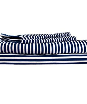 Cotton Calm Exquisitely Dreamy Bed Sheets Full Navy Stripes 1 Flat Sheet 1 Fitted Sheet 2 Pillow Cases 100 Cotton Crisp Percale Full Size Bed Sheets Set Resort Hotel Quality Luxury Bedding 0 300x360
