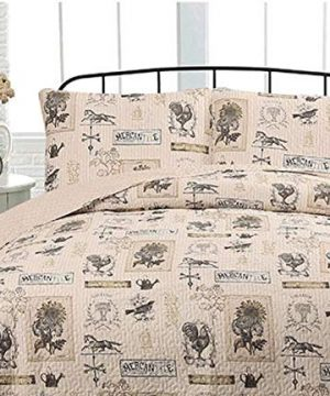 Country Farmhouse Barn Rustic Roosters Taupe Tan FullQueen Quilt Shams 3 Piece Set Homemade Wax Melts 0 300x360