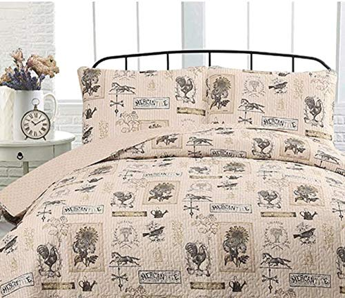 Country Farmhouse Barn Rustic Roosters Taupe Tan FullQueen Quilt Shams 3 Piece Set Homemade Wax Melts 0