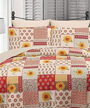 Country-Farmhouse-Gypsy-Paisley-Sunflowers-Flowers-FullQueen-Quilt-Shams-3-Piece-Set-Homemade-Wax-Melts-0