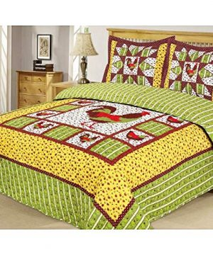 Country Farmhouse Rooster 3pc FullQueen Size Cotton Quilt Set 0 300x360
