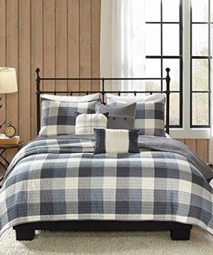 Country-Farmhouse-Rustic-Grey-Plaid-Buffalo-Check-FullQueen-6-Piece-Quilt-Set-Homemade-Wax-Melts-0-0