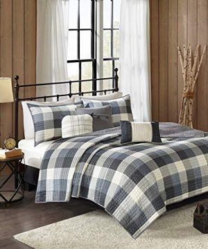 Country Farmhouse Rustic Grey Plaid Buffalo Check FullQueen 6 Piece Quilt Set Homemade Wax Melts 0 300x360