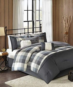 Country-Farmhouse-Rustic-Grey-Plaid-Buffalo-Check-Queen-7-Piece-Comforter-Set-Homemade-Wax-Melts-0