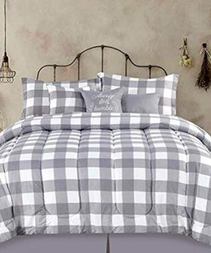 Country-Farmhouse-Rustic-Plaid-Buffalo-Check-Gray-White-King-7-Piece-Comforter-Set-Homemade-Wax-Melts-0