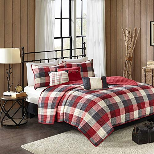 Country-Farmhouse-Rustic-Red-Plaid-Buffalo-Check-King-Quilt-Set-6-Piece-Set-Homemade-Wax-Melts-0