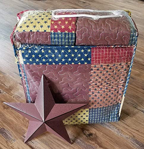 Country Home Collection Vintage Americana Primitive Patchwork Charm 3pc King Size Quilt Set Metal BARN Star 0 0