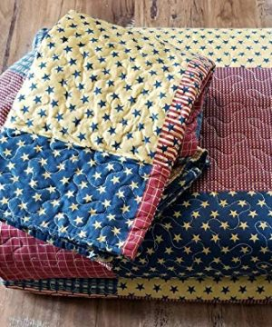 Country Home Collection Vintage Americana Primitive Patchwork Charm 3pc King Size Quilt Set Metal BARN Star 0 2 300x360