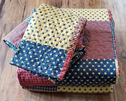 Country Home Collection Vintage Americana Primitive Patchwork Charm 3pc King Size Quilt Set Metal BARN Star 0 2