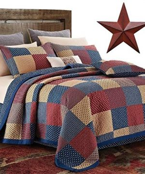 Country Home Collection Vintage Americana Primitive Patchwork Charm 3pc King Size Quilt Set Metal BARN Star 0 300x360