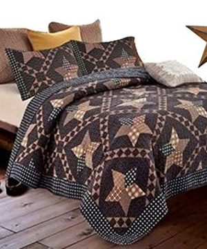 Country Lodge Primitive Americana Black And Brown Star 3pc King Size Quilt Set Metal BARN Star 0 300x360