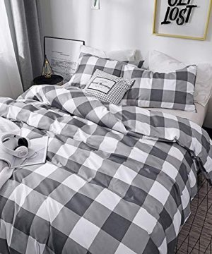 CoutureBridal Buffalo Plaid Duvet Cover Set King Size Gingham Grey And White Preppy Plaid Pattern 3 Piece Checkered Printed Comforter Cover Set With Zipper TiesLuxury Soft Breathable Comfortable 0 0 300x360