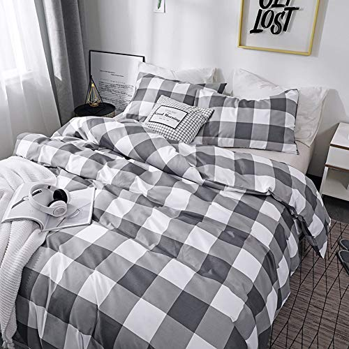 CoutureBridal Buffalo Plaid Duvet Cover Set King Size Gingham Grey And White Preppy Plaid Pattern 3 Piece Checkered Printed Comforter Cover Set With Zipper TiesLuxury Soft Breathable Comfortable 0 0