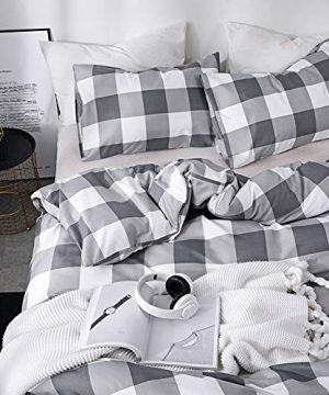 CoutureBridal Buffalo Plaid Duvet Cover Set King Size Gingham Grey And White Preppy Plaid Pattern 3 Piece Checkered Printed Comforter Cover Set With Zipper TiesLuxury Soft Breathable Comfortable 0 1 300x360