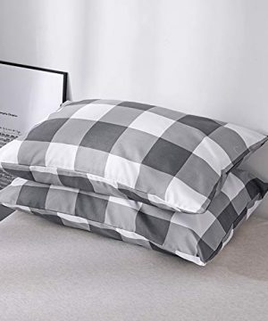 CoutureBridal Buffalo Plaid Duvet Cover Set King Size Gingham Grey And White Preppy Plaid Pattern 3 Piece Checkered Printed Comforter Cover Set With Zipper TiesLuxury Soft Breathable Comfortable 0 2 300x360