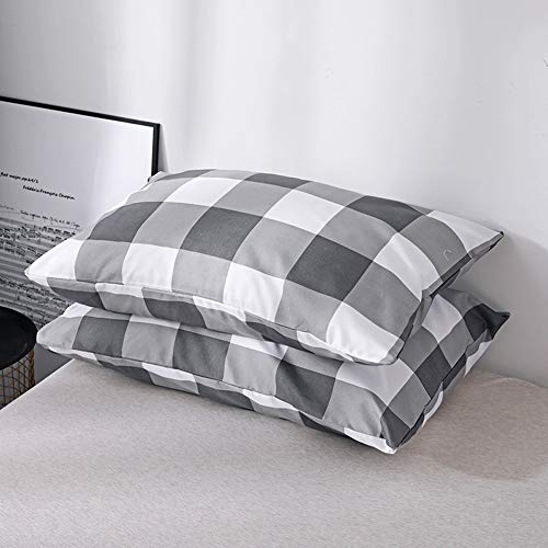 CoutureBridal Buffalo Plaid Duvet Cover Set King Size Gingham Grey And White Preppy Plaid Pattern 3 Piece Checkered Printed Comforter Cover Set With Zipper TiesLuxury Soft Breathable Comfortable 0 2