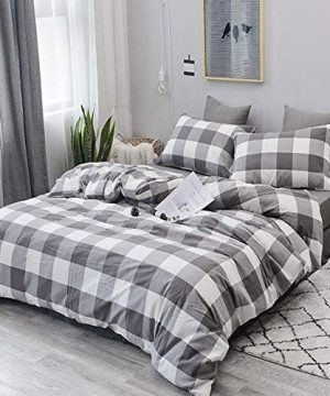 CoutureBridal Buffalo Plaid Duvet Cover Set King Size Gingham Grey And White Preppy Plaid Pattern 3 Piece Checkered Printed Comforter Cover Set With Zipper TiesLuxury Soft Breathable Comfortable 0 300x360