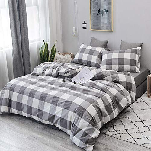 CoutureBridal Buffalo Plaid Duvet Cover Set King Size Gingham Grey And White Preppy Plaid Pattern 3 Piece Checkered Printed Comforter Cover Set With Zipper TiesLuxury Soft Breathable Comfortable 0