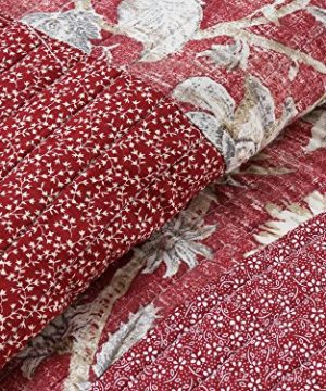 Cozy Line Home Fashions Delilah Quilt Set Red Rose Real Patchwork 100 Cotton Reversible Coverlet Bedspread Wedding Anniversary Romantic Home Decor For Bedding Bedroom Red Floral King 3 Piece 0 0 300x360