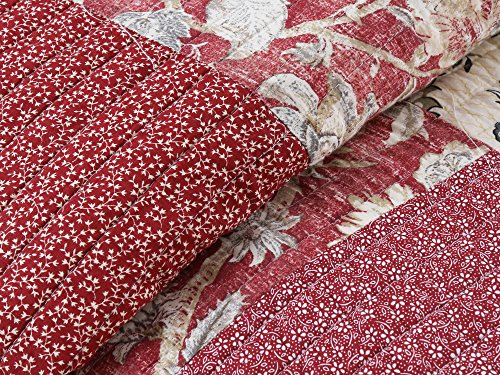 Cozy Line Home Fashions Delilah Quilt Set Red Rose Real Patchwork 100 Cotton Reversible Coverlet Bedspread Wedding Anniversary Romantic Home Decor For Bedding Bedroom Red Floral King 3 Piece 0 0
