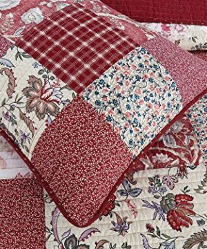 Cozy Line Home Fashions Delilah Quilt Set Red Rose Real Patchwork 100 Cotton Reversible Coverlet Bedspread Wedding Anniversary Romantic Home Decor For Bedding Bedroom Red Floral King 3 Piece 0 2 300x360