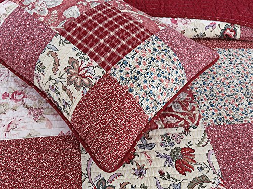Cozy Line Home Fashions Delilah Quilt Set Red Rose Real Patchwork 100 Cotton Reversible Coverlet Bedspread Wedding Anniversary Romantic Home Decor For Bedding Bedroom Red Floral King 3 Piece 0 2