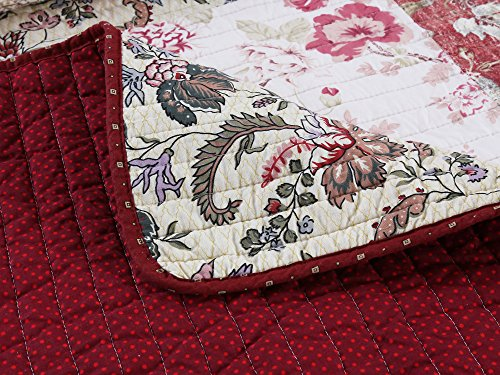 Cozy Line Home Fashions Delilah Quilt Set Red Rose Real Patchwork 100 Cotton Reversible Coverlet Bedspread Wedding Anniversary Romantic Home Decor For Bedding Bedroom Red Floral King 3 Piece 0 3