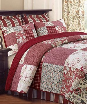 Cozy Line Home Fashions Delilah Quilt Set Red Rose Real Patchwork 100 Cotton Reversible Coverlet Bedspread Wedding Anniversary Romantic Home Decor For Bedding Bedroom Red Floral King 3 Piece 0 300x360