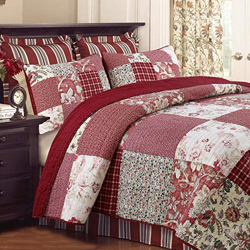 Cozy Line Home Fashions Delilah Quilt Set Red Rose Real Patchwork 100 Cotton Reversible Coverlet Bedspread Wedding Anniversary Romantic Home Decor For Bedding Bedroom Red Floral King 3 Piece 0