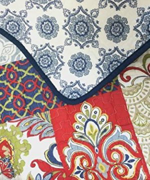 Cozy Line Home Fashions Samantha Patchwork Quilt Bedding Set Red Navy Blue Gold Flower Print Pattern100 Cotton Reversible Coverlet Bedspread For WomenRedNavy King 3 Piece 0 0 300x360