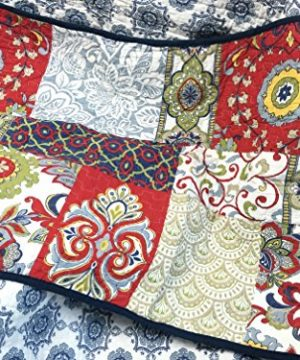 Cozy Line Home Fashions Samantha Patchwork Quilt Bedding Set Red Navy Blue Gold Flower Print Pattern100 Cotton Reversible Coverlet Bedspread For WomenRedNavy King 3 Piece 0 1 300x360