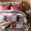 Cozy Line Home Fashions Samantha Patchwork Quilt Bedding Set Red Navy Blue Gold Flower Print Pattern100 Cotton Reversible Coverlet Bedspread For WomenRedNavy King 3 Piece 0 100x100
