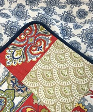 Cozy Line Home Fashions Samantha Patchwork Quilt Bedding Set Red Navy Blue Gold Flower Print Pattern100 Cotton Reversible Coverlet Bedspread For WomenRedNavy King 3 Piece 0 2 300x360